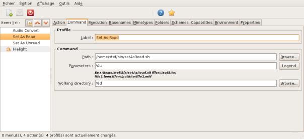 Paramétrage de Nautilus Action pour le script setAsRead